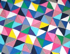 Patchwork quilt rag style recycled tshirt fabric by johewes