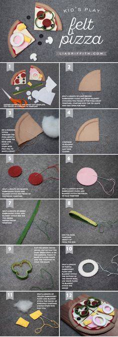 DIY and Crafts: Play Pizza Made From Felt - Lia Griffith