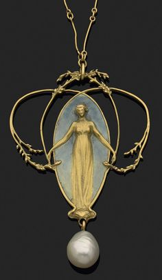 R.Lalique 1900 'Femme et Feuillage' Pendant 5.8-cm tall: 18k gold depiction of a gowned female reaching out to the fine & restrained foliage surround, standing in front of a grey enamel background & over a drop pearl, & hanging from a connected-sticks style chain: selling w/the possible original box