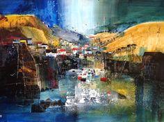 Nagib Karsan - View to the hills, Port Isaac Port Isaac, Cornwall, Buildings, Mixed Media, Things To Come, Paintings, Gallery, Summer, Inspiration