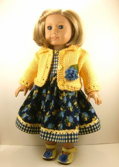 cab445957e 18 Inch Doll Clothes American Girl Bright Yellow Hand Knitted Sweater and  Yellow Cornflower and Navy Blue Sleeveless Dress