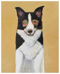 ae57cfc86850 Border Collie in Butter Yellow - Giclée Print Border Collie, Dog Art,  Giclee Print
