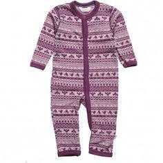 Baby Girls Purple Thermal Wool Romper