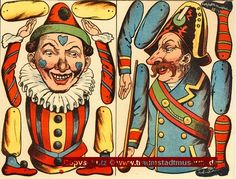 8 verschiedene Hampelmänner Ziehfiguren Bastelbogen Reprint von 1892 aus Museum