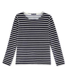 Damen-Streifenshirt aus Velours-Frottier blau Smoking / beige Coquille. Entdecken Sie unsere Kollektion für Neugeborene, Kinder und Erwachsene.