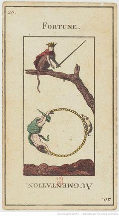 "Fortune - Jeu de tarot divinatoire dit ""Grand Etteilla"" ou ""tarot égyptien""] : [jeu de cartes, estampe] 1880-1890 Different Drawing Styles, Les Runes, Vintage Tarot Cards, Fortune Cards, Art Carte, Oracle Tarot, Wheel Of Fortune, Funny Tattoos, Major Arcana"