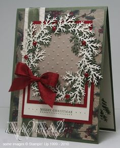 Wickedly Wonderful Creations: Jingle-Jangle-Jingle I've seen a lot of cards that use the Martha Stewart branch punch to make a wreath – I have to think seriously about buying that punch!MS branch punch Christmas wreath I would use a plain backgroun Christmas Paper Crafts, Christmas Cards To Make, Xmas Cards, Christmas Greetings, Diy Cards, Handmade Christmas, Holiday Cards, Christmas Wreaths, Christmas Crafts