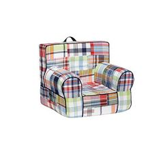Navy Madras My First Anywhere Chair #PotteryBarnKids  I love plaid!! These are the best chairs for playful toddlers! I can fit in it, too!