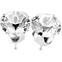 2f3fbd59e pewterhooter 925 Sterling silver stud earrings made with Diamond White  crystals from SWAROVSKI. London gift