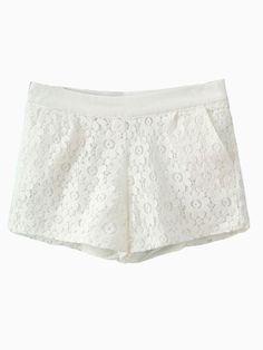 White Lace Hot Shorts   Choies