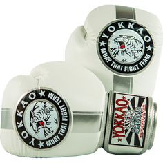 Boxing Gloves | Muay Thai Gloves | Official Fight Team Silver/White