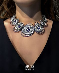 Cosmic forces enclosed in a swirling necklace in blue and white micromosaic tesserae, diamonds, sapphires and tanzanite. The secret of Cosmo around your neck. White Gold, Blue And White, Unique Necklaces, Cosmic, Sapphire, Diamonds, Gold Necklace, Jewels, Gemstones