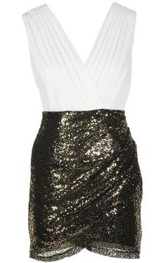 Glitter Blizzard Dress: Features an elegant surplice chiffon bodice, clever duo fabric design, glittering black gold sequin wrap skirt, and a hidden side zip closure to finish.