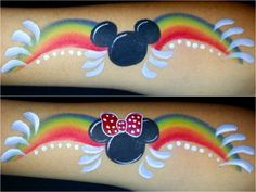 Mickey Mouse ears and Minnie Mouse ears Rainbow face painting designs by Gennie Goose.