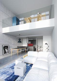 garde corps mezzanine en verre, peinture blanche et grand sofa blanc