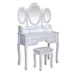 songmics 7 cassetti tavolo cosmetici mobile da trucco da toeletta ... - Toilette Provenzale Con Specchio E Sgabello