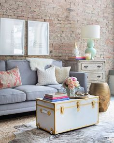 "The Everygirl on Instagram: ""Just a little living room inspiration.."" Love the couch and that trunk! Gorge!"