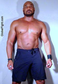 bald musclejock black stud