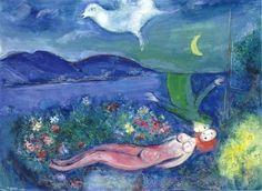 Marc Chagall - Les amoureaux au Cap-Ferrat, 1949.