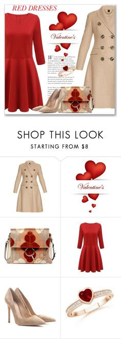 """""""Hot Red Dress"""" by andrejae ❤ liked on Polyvore featuring Burberry, Chloé, Gianvito Rossi, women's clothing, women, female, woman, misses, juniors and reddress"""