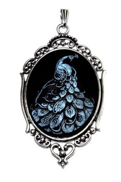Steampunk Goth Jewelry - Pendant - Blue Peacock by CatherinetteRings, $26.00