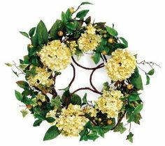 """Pack of 2 Yellow Hydrangea with Leaves & Berries Twig Silk Flower Wreaths 20"""" by Melrose. $104.99. Yellow Hydrangea Floral WreathsItem #46107These artificial twig wreaths are each adorned with vibrant yellow hydrangea silk flowersAccented with leaves and berriesRecommended for indoor use - if using outdoors place under a covered areaUnlitDimensions: 20"""" diameter (measured from outer tip to outer tip across the wreath)Material(s): polyester/plasticPack includes 2 ..."""