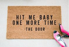 Hit Me Quote Doormat Funny Doormat by foxandcloverboutique