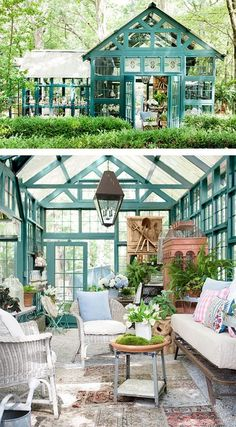 Garden room furniture 12 amazing DIY sheds and greenhouses: how to create beautiful backyard offices, studios and garden rooms with reclaimed windows and other materials. room diy 12 Most Beautiful DIY Shed Ideas with Reclaimed Windows Backyard Greenhouse, Greenhouse Plans, Backyard Landscaping, Small Greenhouse, Landscaping Ideas, Backyard Sheds, Greenhouse Wedding, Backyard Patio, Diy Storage Shed