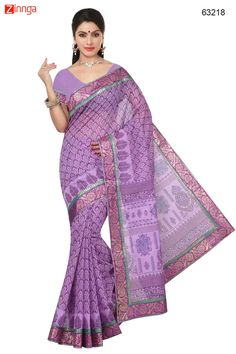 Women's Attractive Looking Ethnic Cotton Lavender Saree. Message/call/WhatsApp at +91-9246261661 or Visit www.zinnga.com