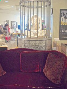 Bill Compton's couch on display at Paley Center