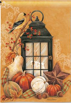 Autumn Lantern - Fall Garden Flag  http://www.pinterest.com/glorymac/autumn-my-favorite-season/