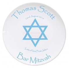 Personalised Bar or Bat Mitzvah Plate :: Personalise with Any Name, Date & Message - Personalised Bone China Plates with Speedy UK Delivery. Personalised Childrens Gifts, Personalized Gifts, Communion Gifts, Confirmation Gifts, Christening Gifts, Bar Mitzvah, China Plates, Best Gifts, Bone China
