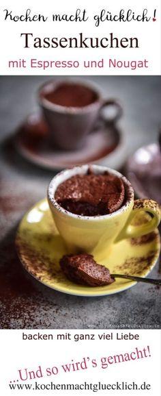 Rezept für  Espresso-Tassenkuchen  Zutaten für 1 Tasse 30 g Mehl 30 g Butter 30 g Schokolade 1 Ei 1/4 Teelöffel Backpulver 45 g Zucker 1 prise Salz einen kleinen Teelöffel Espressopulver 1 Riegel Schichtnougat  ...und wie es weitergeht, könnt Ihr auf meinem Blog lesen