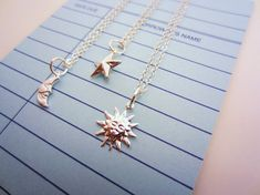 Silver sun, moon, star friendship necklaces. Set of three, bright silver-plated tiny charms. Two-sided star. Best friend gift. on Etsy, $27.00