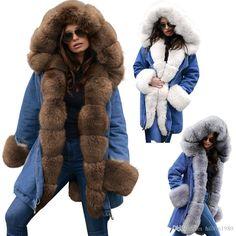 Winter Luxury Unisex Women Men Long Parka Faux Fur Lapel Collar Thicker Coat L98