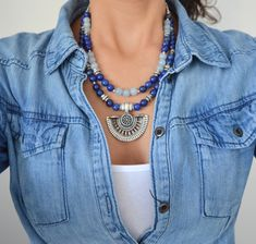 Lapis Lazuli beaded multistrand necklace, Silver statement necklace, Greek inspired necklace, Bohemian Ethnic Summer Statement Jewelry