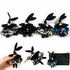 Black Rabbit Bunny Sequin Key Chain Ring Hand Bag Charm Handcrafted Accessories #Jacc