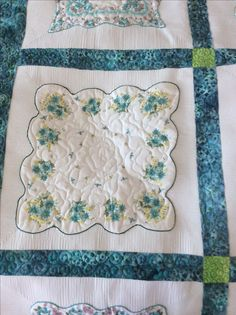 Using old handkerchiefs to make quilts ... Close up of great quilting by doodlemoochie