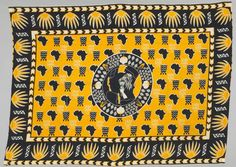 Africa | Commemorative cloth ~ kanga~ from Tanzania | ca. 1973 | cotton; plain woven, printed.