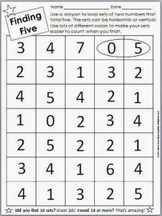 FREE printable ...finding sums of five