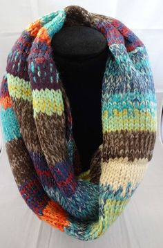 Infinity scarf blue orange brown multi-color stripes bulky knit cowl snood Look  #Look #CowlInfinity #CasualWear