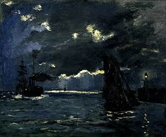 Claude Monet / A Seascape, Shipping by Moonlight / about 1864 / Scottish National Gallery
