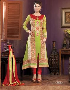 Heavy designer fancy Light Green coloured semi stitched salwar suit