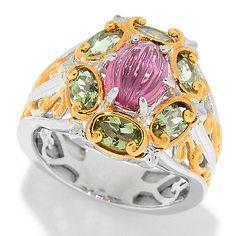 160-987 - Gems en Vogue 1.50ctw Pink & Green Tourmaline Halo Ring