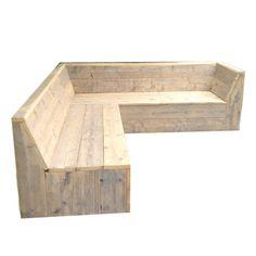 Tuin hoekbank van steigerhout zonder armleuningen.