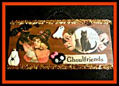 Items similar to Ghoulfriends Witch Plaque on Etsy Vintage Halloween Images, Cute Goth, Special Birthday Gifts, Pink Feathers, Trinket Boxes, Fascinator, I Shop, Witch, Handmade Gifts