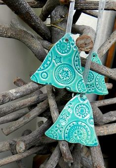 Lace Christmas Ornaments Turquoise Ceramic Bell Winter Home Decoration Gift Set of 3