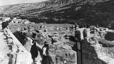 The ruins of the Palace of Minos at Knossos where Arthur Evans discovered mysterious clay tablets bearing an ancient unknown script