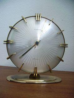 50s VINTAGE sunburst atomic EUROPA elomatic desk CLOCK BRASS MODERNIST Junghans