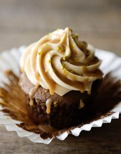 Salted Caramel Frosting for Chocolate Cupcakes